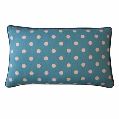 Dot Cotton Lumbar Pillow Color: Blue