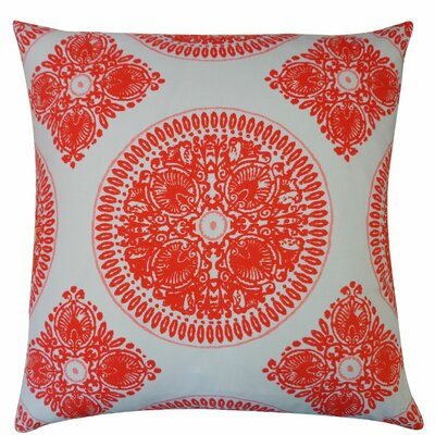 Medallion Cotton Throw Pillow Size: 24 H x 24 W, Color: Orange