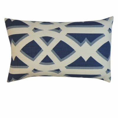 Crossroads Cotton Lumbar Pillow Color: Navy