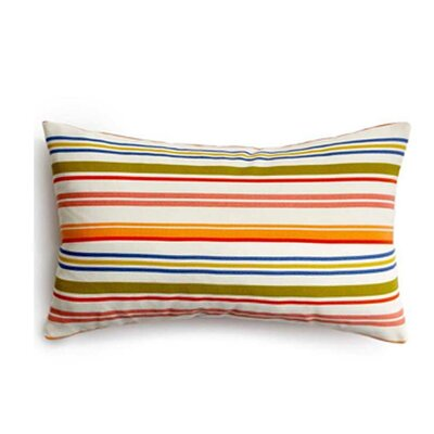 Thin Horizontal Stripes Indoor/Outdoor Lumbar Pillow Color: Rainbow