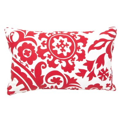 Suzani Cotton Lumbar Pillow Color: Red/White