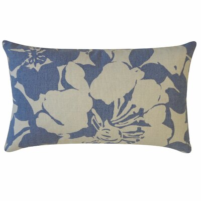 Peony Cotton Lumbar Pillow Color: Indigo
