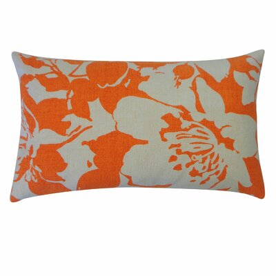 Peony Cotton Lumbar Pillow Color: Tan