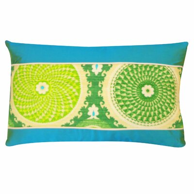 Coin Cotton Lumbar Pillow Color: Green, Size: 12H x 20W