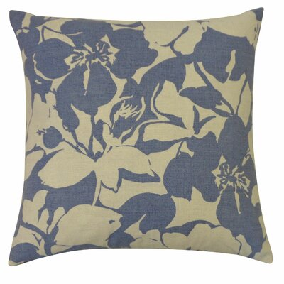 Peony Cotton Throw Pillow Color: Indigo