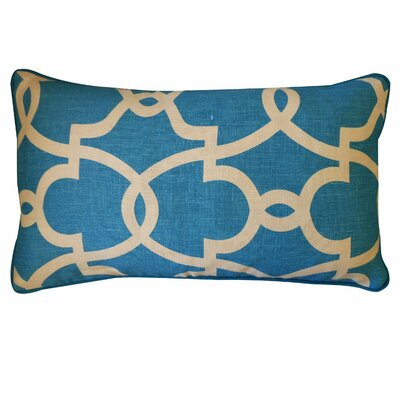 Dean Cotton Lumbar Pillow Color: Turquoise/Cream