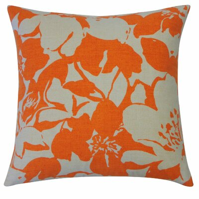 Peony Cotton Throw Pillow Color: Orange