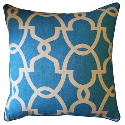 Dean Cotton Throw Pillow Color: Turquoise/Cream