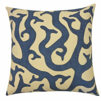 Reef Cotton Throw Pillow Color: Navy