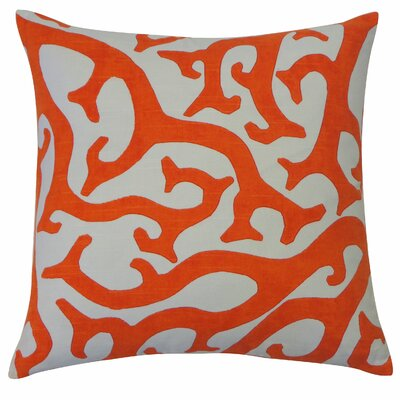 Reef Cotton Throw Pillow Color: Orange