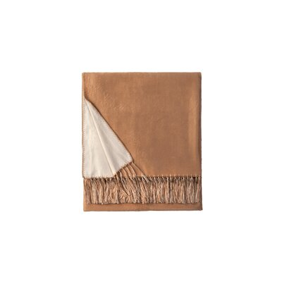 Brushed Viscose Rayon from Bamboo Throw Color: White/Khaki