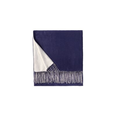Brushed Viscose Rayon from Bamboo Throw Color: Royal Blue/White