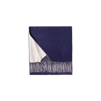 Brushed Bamboo Rayon Viscose Throw Color: Royal Blue/White