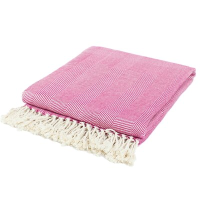 Cotton Throw Blanket Color: Fuchsia / Cream