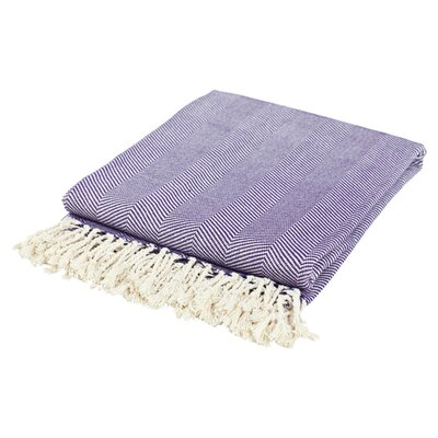 Cotton Throw Blanket Color: Purple / Cream