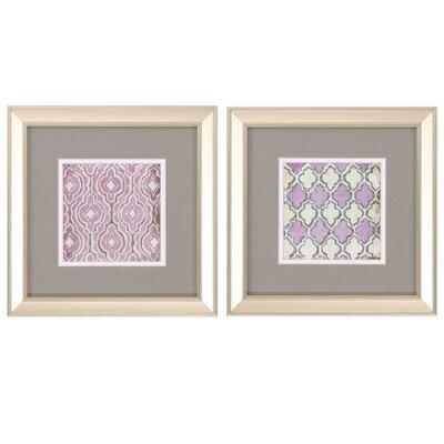 Purple Quatrafoil 2 Piece Framed Graphic Art Set 1683