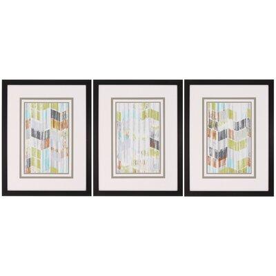 Brushed Chevron I 3 Piece Framed Graphic Art Set 3657