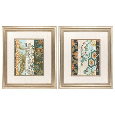 Textile Strata 2 Piece Framed Painting Print Set 3840