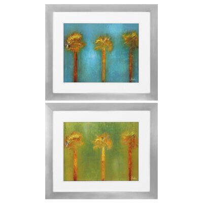 Three Palms 2 Piece Framed Painting Print Set 9109