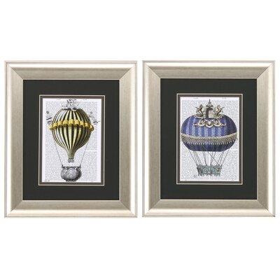 Fantasy Balloon 2 Piece Framed Graphic Art Set 1015