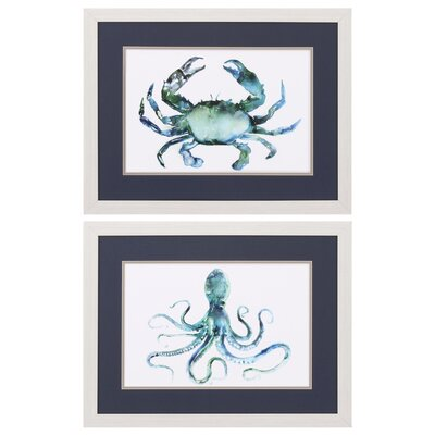 Crab Octopus 2 Piece Framed Painting Print Set 3762