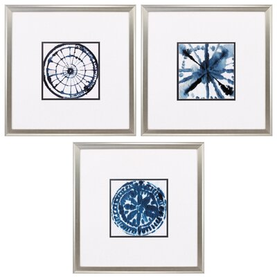 Indigo Dye 3 Piece Framed Graphic Art Set 3888