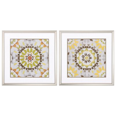 Driftwood Mandala 2 Piece Framed Graphic Art Set 3872