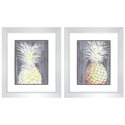'Vibrant Pineapple' 2 Piece Framed Painting Print Set BBZE1814 39329519