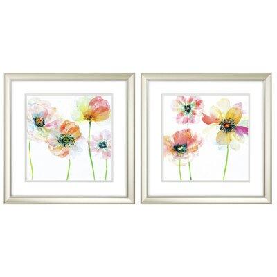 'Summer Fields' 2 Piece Framed Watercolor Painting Print Set