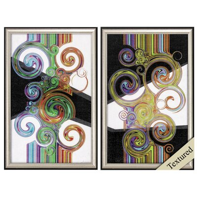'Twirl' 2 Piece Framed Graphic Art Print Set