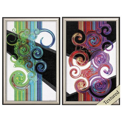 'Twirl' 2 Piece Framed Graphic Art Print Set