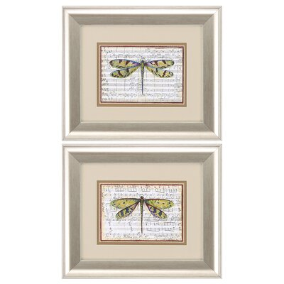 'Dragonfly' 2 Piece Framed Painting Print Set