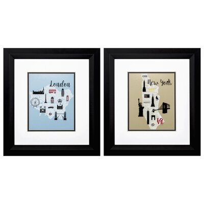 'Just Go' 2 Piece Framed Graphic Art Print Set IVBX2312 42002091