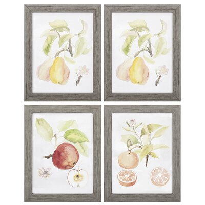 'Watercolor Fruit' 4 Piece Framed Watercolor Painting Print Set