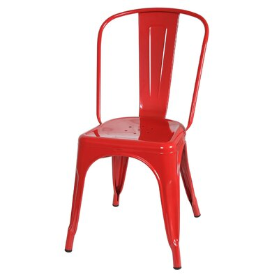 Industrial Metal Side Chair Stackable Finish: Red