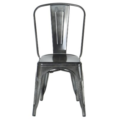 Industrial Metal Side Chair Stackable Finish: Charcoal Gray