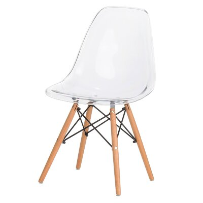 Plastic Molded Solid Wood Dining Chair Upholstery: Clear