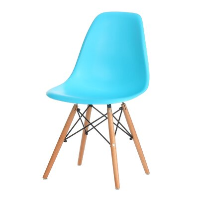 Plastic Molded Solid Wood Dining Chair Upholstery: Blue