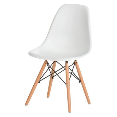 Plastic Molded Solid Wood Dining Chair Upholstery: White