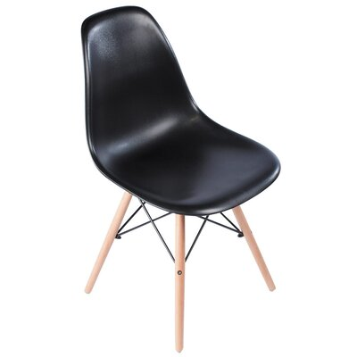 Plastic Molded Solid Wood Dining Chair Upholstery: Black