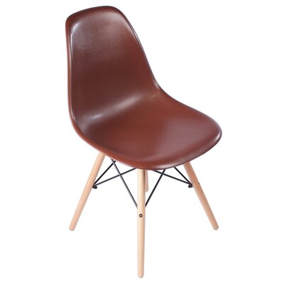 Plastic Molded Solid Wood Dining Chair Upholstery: Brown