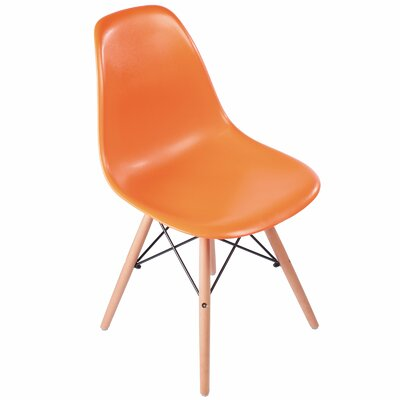 Plastic Molded Solid Wood Dining Chair Upholstery: Orange