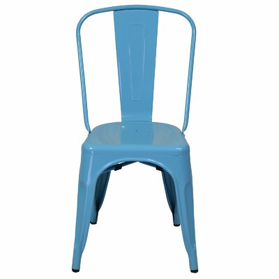 Industrial Metal Side Chair Stackable Finish: Blue