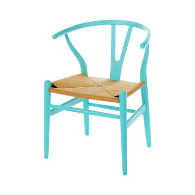 Wishbone Solid Wood Dining Chair Color: Blue
