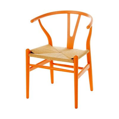 Wishbone Solid Wood Dining Chair Color: Orange