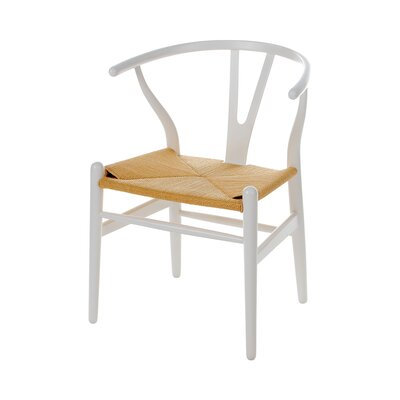 Wishbone Solid Wood Dining Chair Color: White