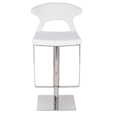 Hugo Hydraulic Adjustable Height Bar Stool Finish: White