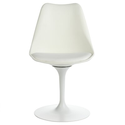 Sinkler Mid-Century Modern Swivel Upholstered Dining Chair Upholstery Color: White