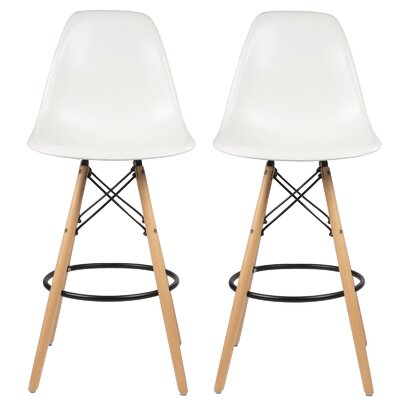 Siple Mid-Century Modern Retro 26.5 Bar Stool Color: White