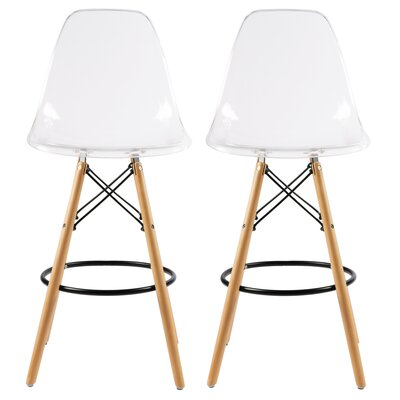 Siple Mid-Century Modern Retro 26.5 Bar Stool Color: Clear